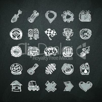 Icons Set of Car Symbols on Blackboard