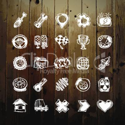 Icons Set of Car Symbols on Wood Texture
