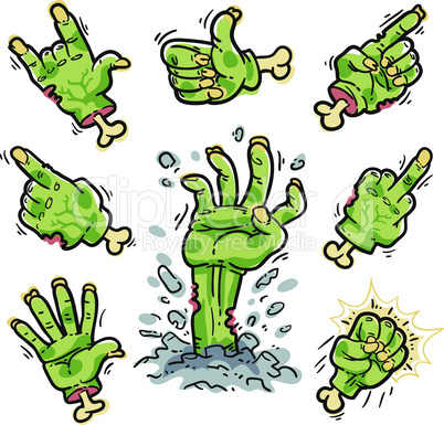 Cartoon Zombie Hands Set for Horror Design