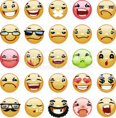 Cartoon Facial Expression Smile Icons Set