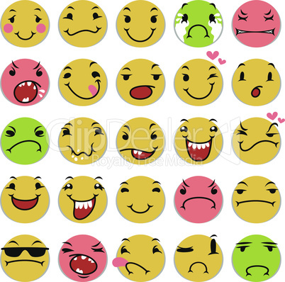 Cartoon Smile Icons Set