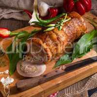 meat roulade with bear allium filling