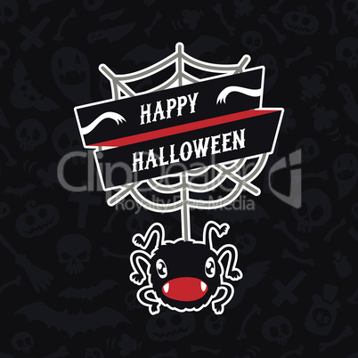 Happy Halloween Card with Spider