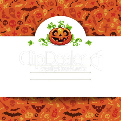White Paper Sheet with Pumpkin on Halloween Background
