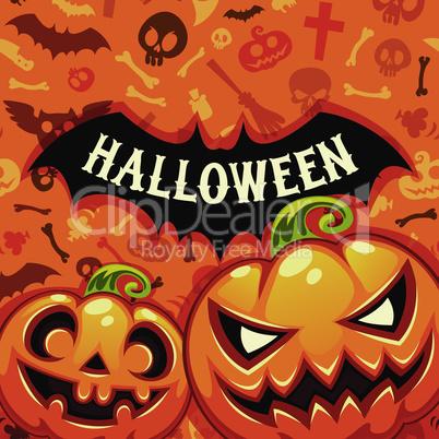 Halloween Pumpkins Card With Bat Silhouette
