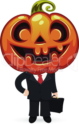 Businessman With Pumpkin on a Head