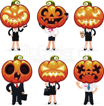 Businessmen With Pumpkins on a Heads