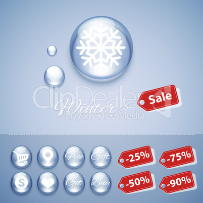 Winter Sale Glossy Buttons Templates
