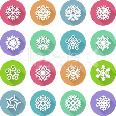 Set of Simple Round Snowflakes Icons for Christmas Design