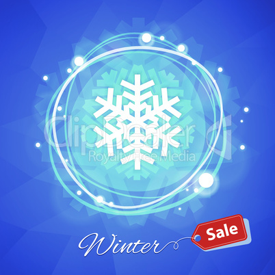 Winter Sale Banner with Snowflake on Blue Geometric Background