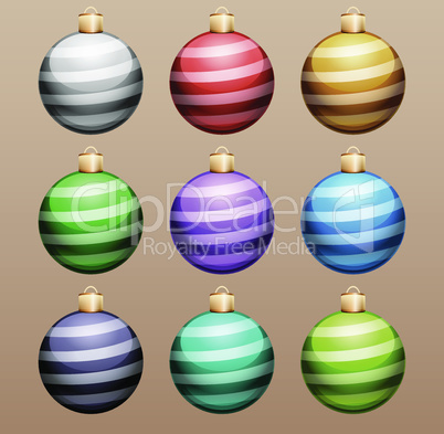 Set of Striped Christmas Balls