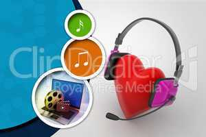 head phone with love hearts