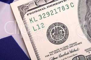 american dollars on american flag
