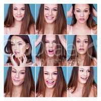 Set of nine different expressions on a pretty girl