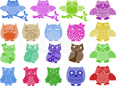 Set of nineteen ornamental owls