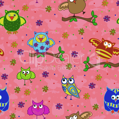 Seamless pattern with ornamental owls over terracotta