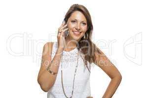 Vivacious woman reacting to a text message