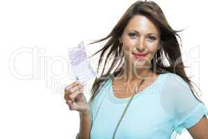 Smiling Attractive Woman Holding 500 Euro Bill