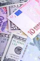 Heap from dollars, the ukrainian money and euro