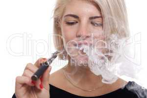 Close up Blond Woman Smoking Using E- Cigarette