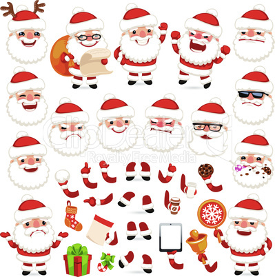 Set of Cartoon Santa Claus for Your Christmas Design or Animation
