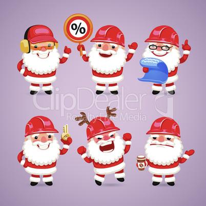 Set of Cartoon Santa Claus Builders