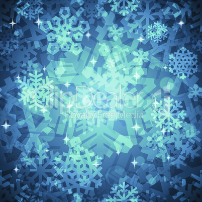 Shiny Blue Snowflakes Seamless Pattern for Christmas Desing