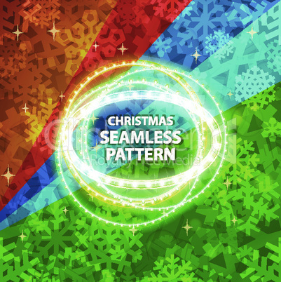 Shiny Snowflakes Seamless Pattern with Lights for Christmas Design