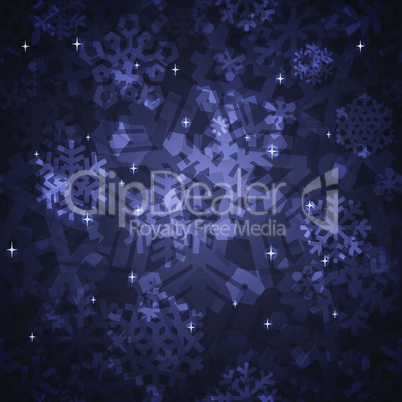 Shiny Dark Snowflakes Seamless Pattern for Christmas Desing