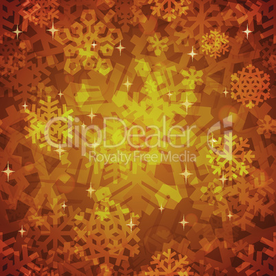 Shiny Golden Snowflakes Seamless Pattern for Christmas Desing