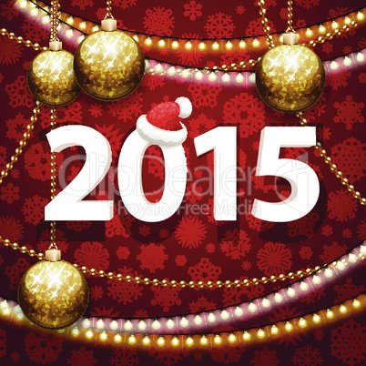 Happy New Year 2015 on Red Background with Christmas Baubles
