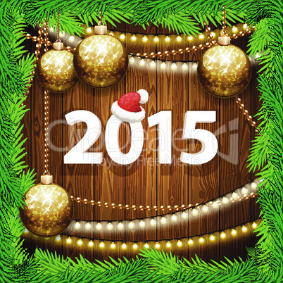Happy New Year 2015 on Wooden Background with Christmas Baubles