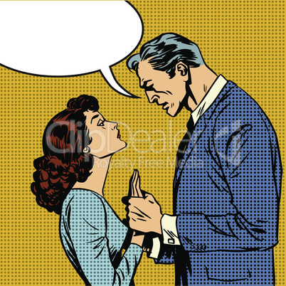 husband and wife lovers serious talk love conflict pop art comics retro style Halftone
