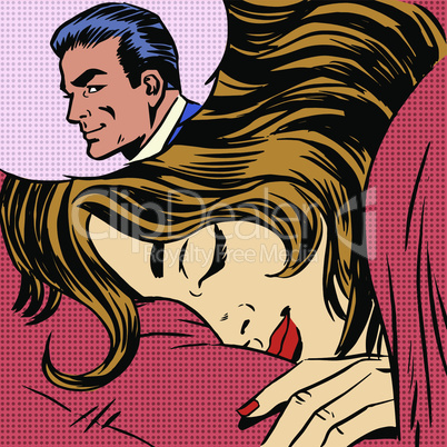 Dream woman man love romance lovers pop art comics retro style Halftone