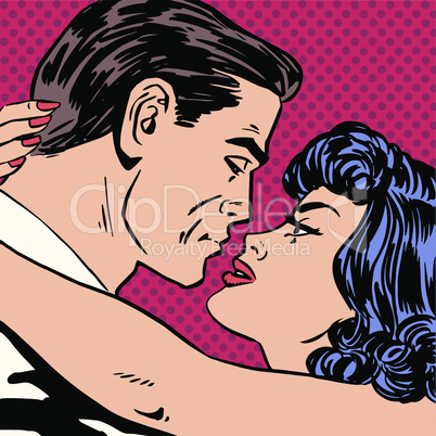 Kiss love movie romance heroes lovers man and woman pop art comics retro style Halftone