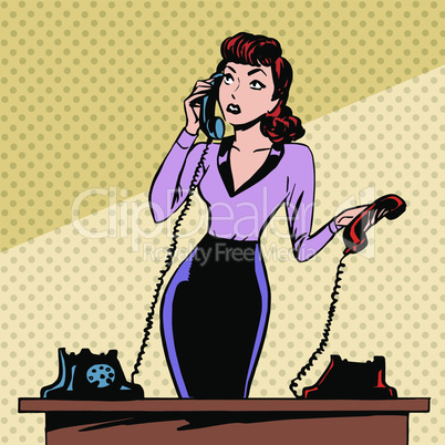 Girl Secretary answers the phone progress and communication technology pop art comics retro style Halftone