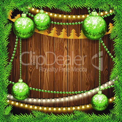 Christmas Background with Green Balls