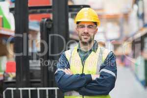 Manual worker wearing hardhat and eyewear