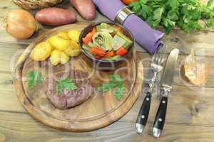 gebratenes Straußensteaks mit Ofenkartoffeln