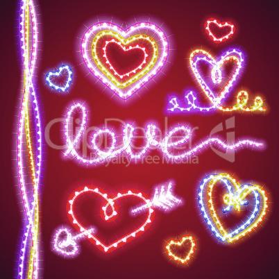 Valentines Neon Hearts