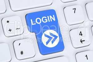 Login Button anmelden online auf Computer