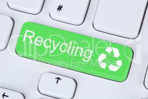 Recycling Button für Umweltschutz auf Computer Tastatur