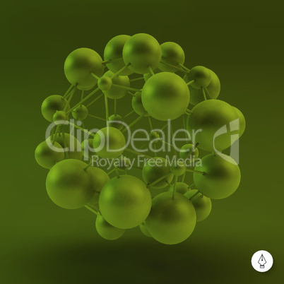 3D Molecule structure background. Graphic design. Vector Illustration. Can be used  for the poster, card, flyer or banner.