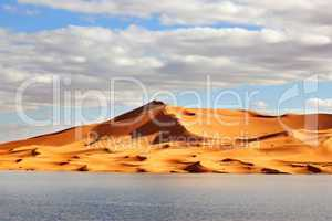 Sand dunes with lake in Morocco