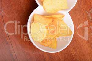 Potato chips. Close up, unhealthy food concept