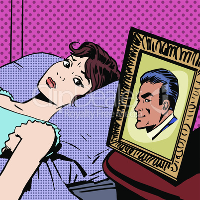 woman in bed photo men wife husband pop art comics retro style Halftone