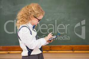 Pupil using calculator