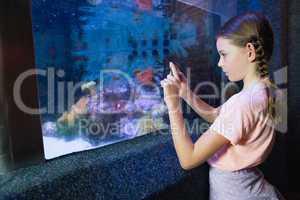 Cute girl looking at fish tank