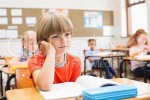 Concentrate pupils sitting at his desk