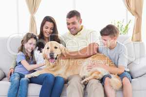 Family of stroking Golden Retriever